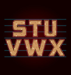 Retro light bulb font from s to x vector