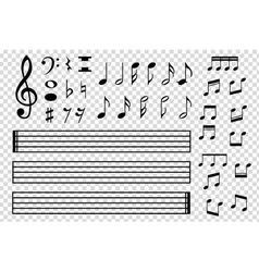 Set of various black musical note icon vector image vector image