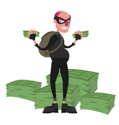 thief in a mask on the background of a pile of vector image