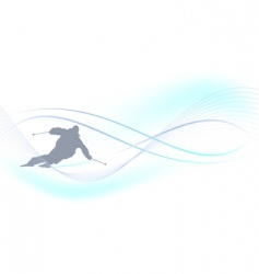 winter background skier vector image vector image