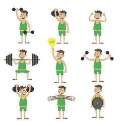 a set of exercises with dumbbells vector image vector image