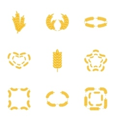 Wheat ear icons set cartoon style vector image vector image