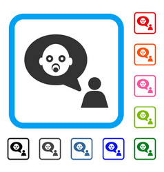 baby thinking person framed icon vector image