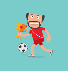 football player celebrating victory holding trophy vector image