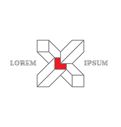 Isometric logo with letter X 3d Logotype with vector image