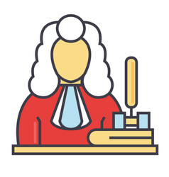 judge gavel justice law concept line vector image vector image