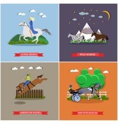 Set of wild and domestic horses flat design vector