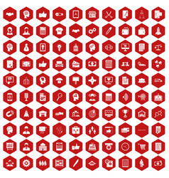 100 business strategy icons hexagon red vector