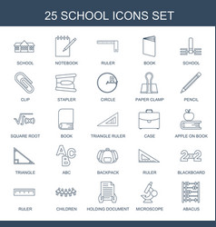 25 school icons vector image