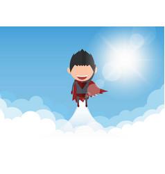 A happy face superhero businessman on sky vector