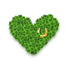 a heart filled with realistic clover leaves gold vector image