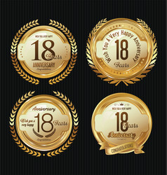 Anniversary golden labels collection 18 years vector