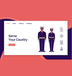 Army service landing page template us soldiers vector