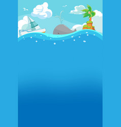 Beach summer under water background vector