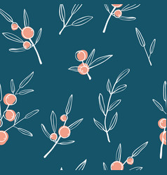 berry branch seamless pattern vector image
