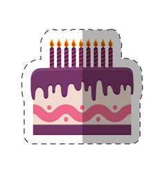 Birthday cake sweet purple cream vector