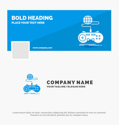 blue business logo template for game gaming vector image