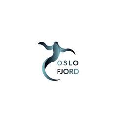 blue fish logo sign vector image