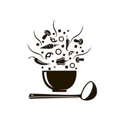 Bowl soup vector