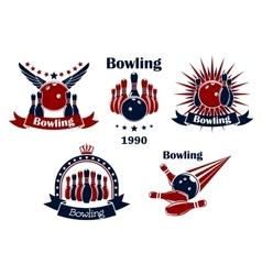 Bowling game emblems with strike vector image