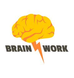 Brain work logo flat style vector