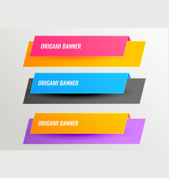 bright origami banners design set vector image