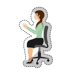 Businesswoman avatar sitting on office chair vector