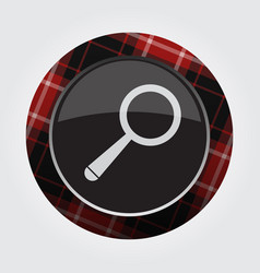 Button with red black tartan - magnifier icon vector