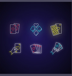 card games neon light icons set vector image