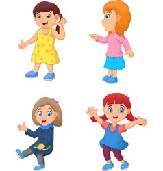 cartoon little girl with different posing vector image