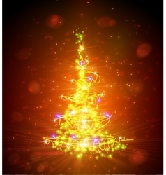 Christmas tree with defocused lights Red vector