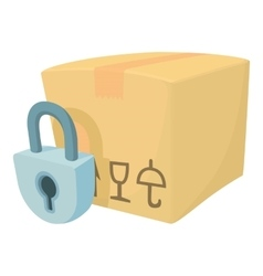 Closed box icon cartoon style vector