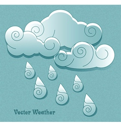 Cloud with rain drops vector