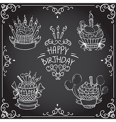 Collection of vintage birthday cupcake vector