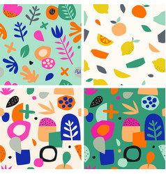 Colorful seamless pattern in paper cutout style vector