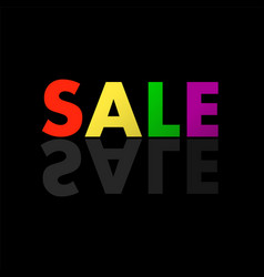 colorful text sale in mirror reflection vector image