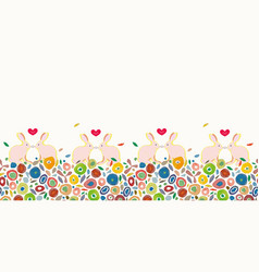 cream easter pattern with colorful dots and bunny vector image