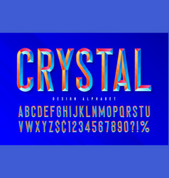 crystal display font with facets alphabet vector image