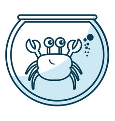 cute crab character in aquarium vector image