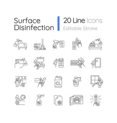 Disinfection pixel perfect linear icons set vector