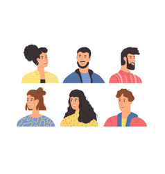 diverse happy young people portrait set vector image