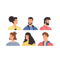 diverse happy young people portrait set vector image