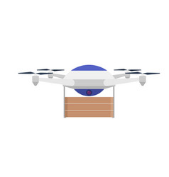 Drone with a load on a white background aerial vector