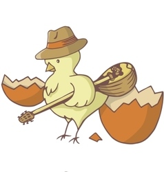 easter chick bouzouki vector image