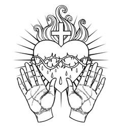 Female open hands around sacred heart jesus vector