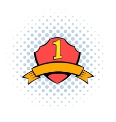 First place shield icon comics style vector image