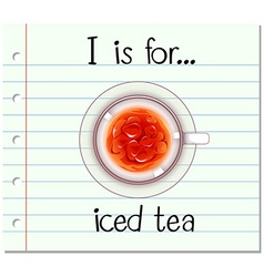 Flashcard alphabet I is for iced tea vector