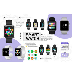 flat smart watch elements composition vector image