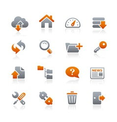 FTP Hosting Icons Graphite Series vector image