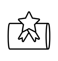Gift box cylinder star ribbon outline vector